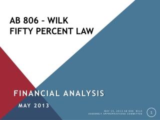 AB 806 – Wilk Fifty Percent Law