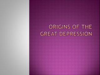 Origins of the Great Depression