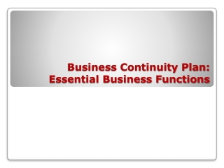 Business Continuity Plan:  Essential Business Functions