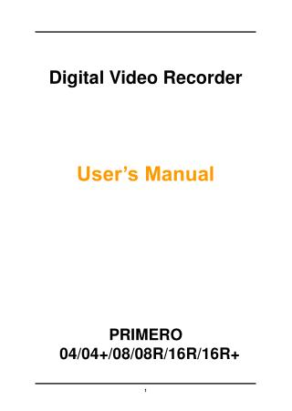 Digital Video Recorder User's Manual