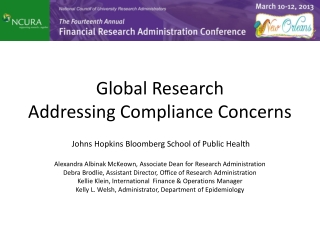 Global Research  Addressing  Compliance Concerns