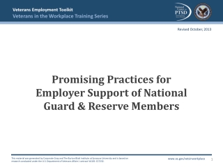 Promising Practices for Employer Support of National Guard & Reserve Members