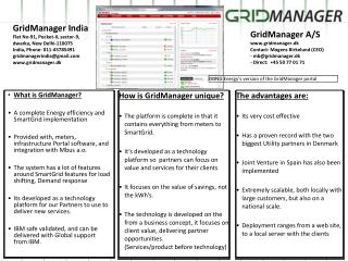 What is GridManager? A  complete  Energy efficiency and SmartGrid implementation