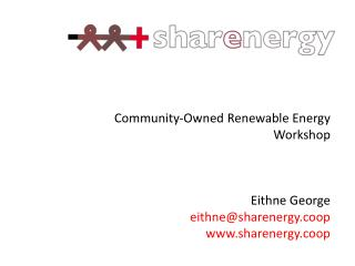 Community-Owned Renewable Energy Workshop
