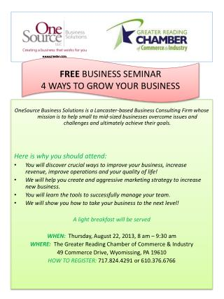 FREE  BUSINESS SEMINAR 4 WAYS TO GROW YOUR BUSINESS