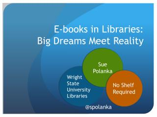 E-books in Libraries: Big Dreams Meet Reality