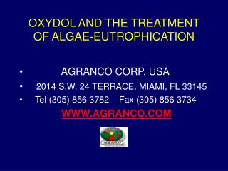 OXYDOL AND THE TREATMENT OF ALGAE-EUTROPHICATION