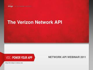 The Verizon Network API
