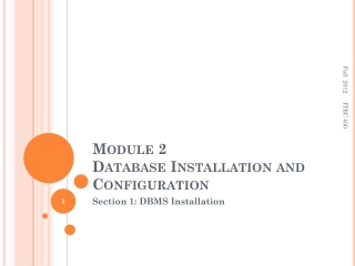 Module 2 Database Installation and Configuration