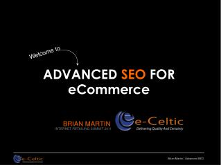 ADVANCED  SEO  FOR eCommerce