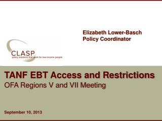 TANF EBT Access and Restrictions