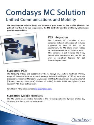 Comdasys MC Solution Unified Communications and Mobility
