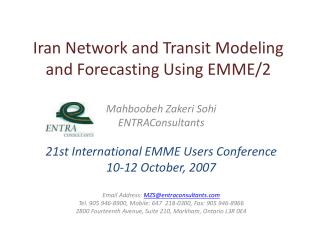 Iran Network and Transit Modeling and Forecasting Using EMME/2