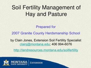 Soil Fertility Management of Hay and Pasture