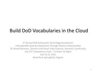 Build DoD  Vocabularies in the Cloud