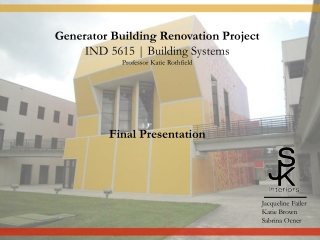 Generator Building Renovation Project IND 5615 | Building Systems Professor Katie  Rothfield Final  Presentation