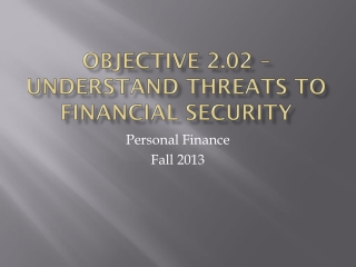 Objective 2.02 – Understand threats to financial security