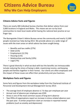 Citizens Advice Bureau Why  W e  C an  H elp Employers