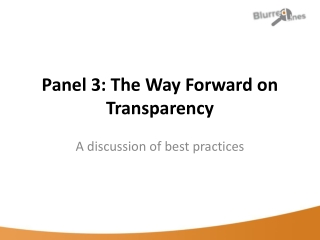 Panel 3: The Way Forward on Transparency