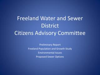 Freeland Water and Sewer District Citizens Advisory Committee