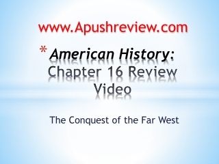 American History:  Chapter  16  Review Video