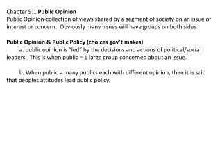 Chapter 9.1  Public Opinion