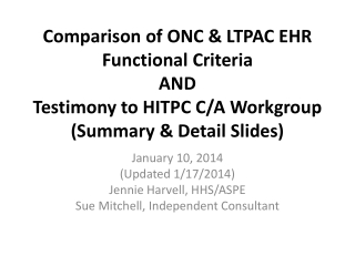Comparison of ONC & LTPAC EHR Functional Criteria AND Testimony to HITPC C/A Workgroup (Summary & Detail Slides)