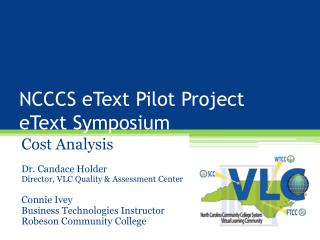 NCCCS  eText  Pilot Project eText  Symposium