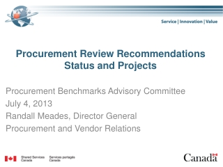 Procurement Review Recommendations Status and Projects