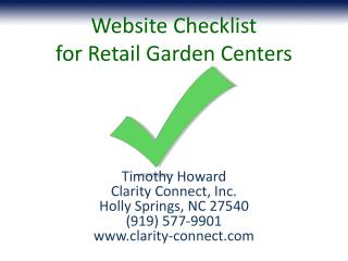Website Checklist  for Retail Garden Centers