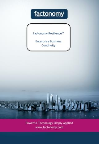 Factonomy  Resilience™ Enterprise Business Continuity