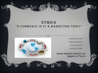 "Ethics ""E-Commerce Is It a Marketing Tool?"""