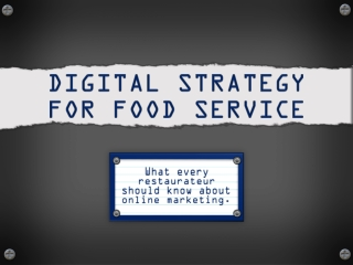 Digital Strategy For Food Service