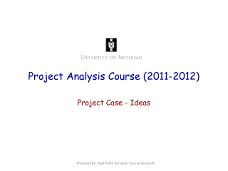 Project Analysis Course (2011-2012)