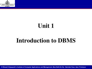 Unit 1 Introduction to DBMS