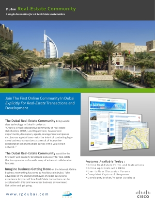 Features Available Today : Online Real-Estate Forms and Instructions  Online Approvals with RERA  User to User Discussi
