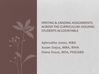 Writing & Grading Assignments Across the Curriculum: Holding Students Accountable