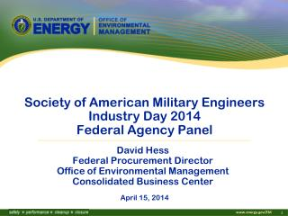 Society of American Military Engineers Industry Day 2014 Federal Agency Panel