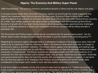 Nigeria: The Economy And Military Super Power