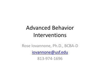 Advanced Behavior Interventions