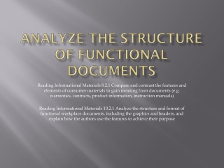 Analyze the Structure of Functional Documents