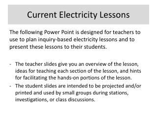 Current Electricity Lessons
