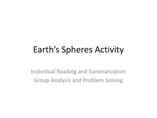 Earth's Spheres Activity