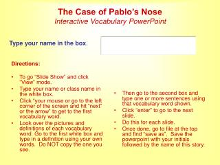 The Case of Pablo's Nose Interactive Vocabulary PowerPoint