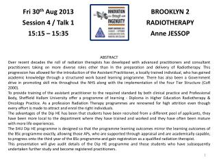 BROOKLYN 2 RADIOTHERAPY Anne JESSOP