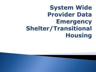System Wide  Provider  Data Emergency Shelter/Transitional Housing