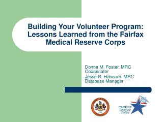 Building Your Volunteer Program: Lessons Learned from the Fairfax Medical Reserve Corps