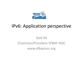 IPv6: Application perspective