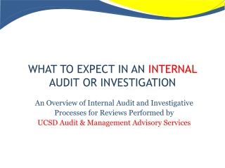 WHAT TO EXPECT IN AN  INTERNAL  AUDIT OR INVESTIGATION