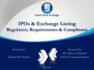 IPOs & Exchange Listing Regulatory Requirements & Compliance